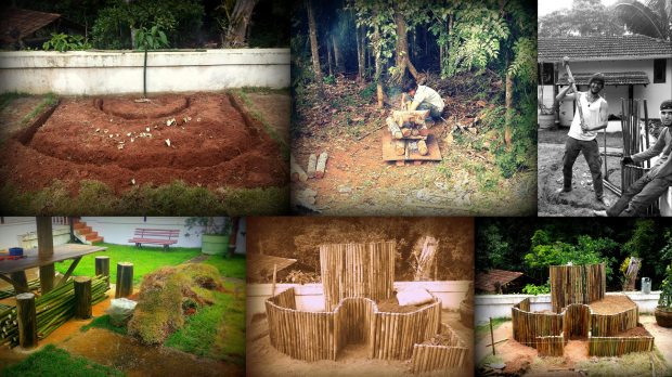 (top left) the African Keyhole dugout outline; (bottom left) bamboo & removed grass; (top middle) Ígor drying bamboo sticks; (top right) Ígor & Guilherme hammering the bamboo into place; (bottom middle) already started filling in the earth humus mixture; (bottom right) almost finished