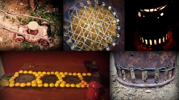 (bottom left) our wood stove in Capijuma decorated with orange peals by Antonio; (top left) getting the round middle part from this old lawn mower; (top middle) woven write; (bottom right) wire secured to the air holes; (top right) bottom and top airholes