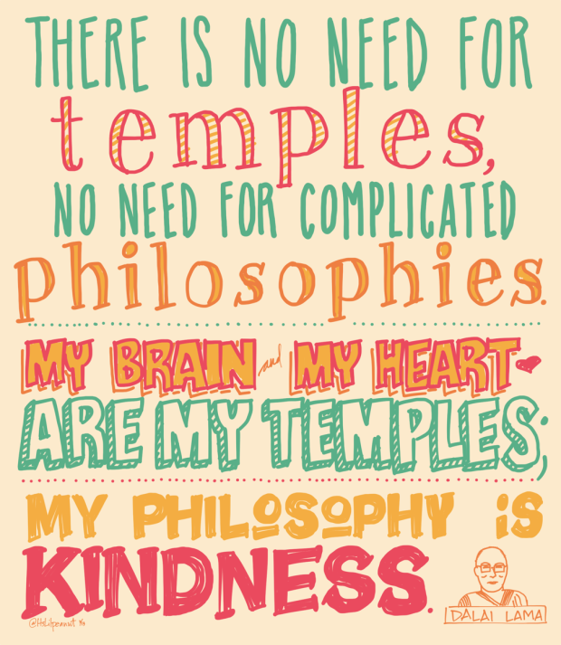 "Dalai Lama: ""There is no need for temples, no need for complicated philosophies. My brain and my heart are my temples; my philosophy is kindness."""