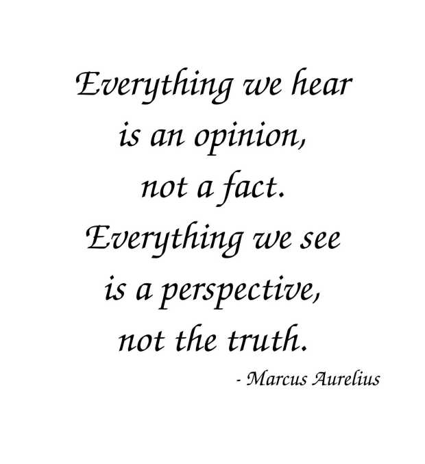 "Marcus Aurelius: ""Everything we hear is an opinion, not a fact. Everything we see is a perspective, not the truth."""