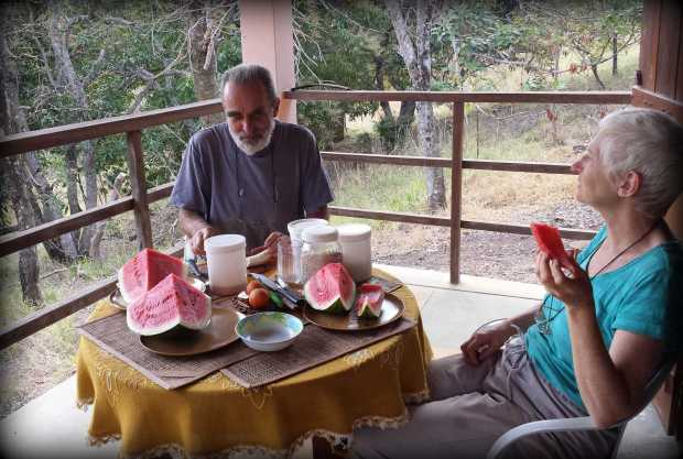 For weeks we have been eating 3-4 watermelons per week and since the world cup it has been watermelon + popcorn time. Richard (left) & Monica (right) enjoying the inaugural melon at the property.