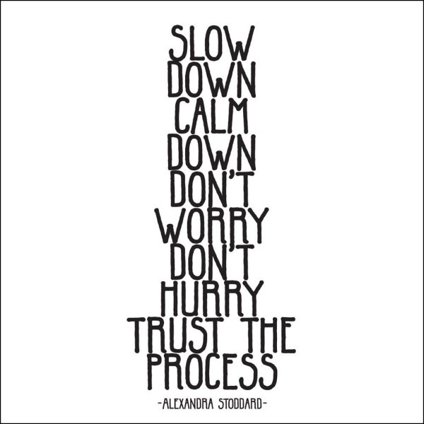 "Alexandra Stoddard: ""Slow down, calmn down, don't worry, don't hurry, trust the process."""