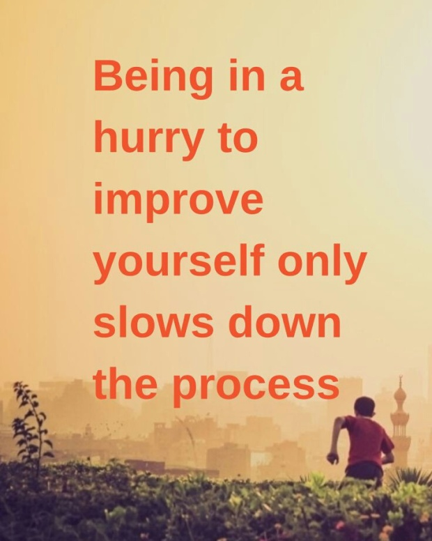 "Unknown: ""Being in a hurry to improve yourself only slows down the process."""