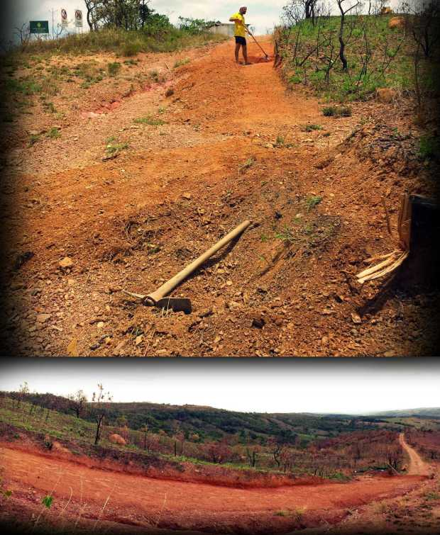 The road to our property has a water carved canyon one one side and so we extended the road on the other-side in preparation for the heavier rains. The bottom picture is the finished version.